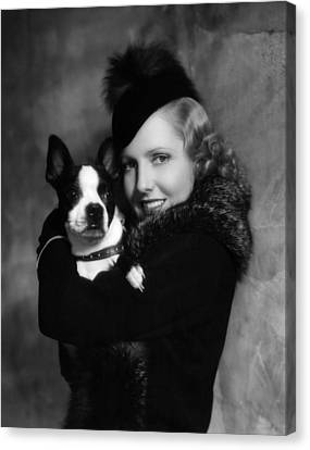 Jean Arthur With Boston Terrier, 1935 Canvas Print by Everett