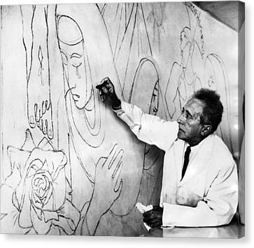 Jean Cocteau Works On A Mural Canvas Print by Everett