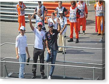 Canvas Print featuring the photograph Jean-eric Vergne Lewis Hamilton And Nico Rosberg by David Grant