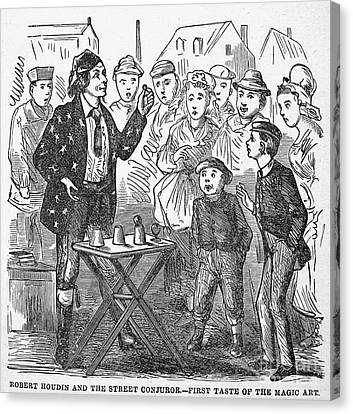 Jean Eugene Robert Houdin (1805-1871). French Magician. Wood Engraving, C1880, From An American Edition Of Houdins Autobiography, Depicting His First Childhood Encounter With A Street Magician Canvas Print by Granger