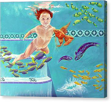Canvas Print featuring the painting Jeannie As A Baby Swimming As A Fish by Nancy Tilles