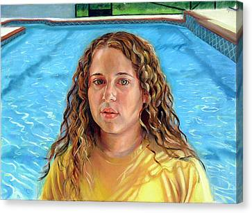 Canvas Print featuring the painting Jeannie At The Pool by Nancy Tilles