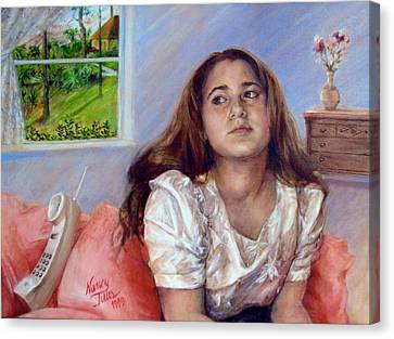 Canvas Print featuring the painting Jeannie Waiting For A Call by Nancy Tilles