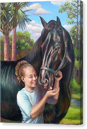 Canvas Print featuring the painting Jeannie With Seiba's Gentle Touch by Nancy Tilles