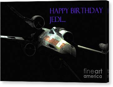 Jedi Birthday Card Canvas Print by Micah May