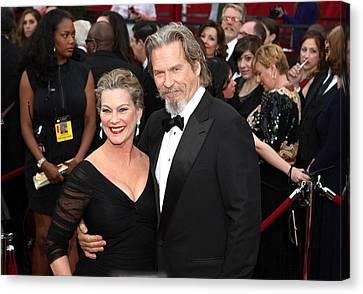 Jeff Bridges, Susan Geston At Arrivals Canvas Print by Everett