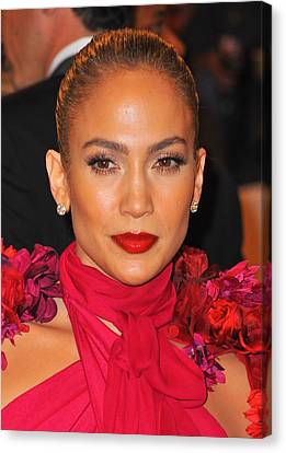 Jennifer Lopez At Arrivals Canvas Print