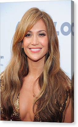Natural Makeup Canvas Print - Jennifer Lopez At Arrivals For Apollo by Everett