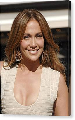 Jennifer Lopez At The Press Conference Canvas Print