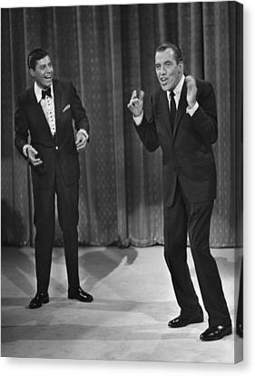 Jerry Lewis, And Ed Sullivan, Circa Canvas Print by Everett