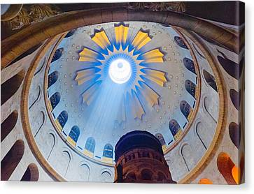 Jerusalem The Church Of The Holy Sepulcher Dome. Canvas Print by Eyal Nahmias