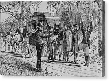 Jesse James And Bill Ryan Robbing Canvas Print