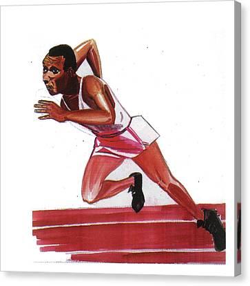 Jesse Owens Canvas Print by Emmanuel Baliyanga
