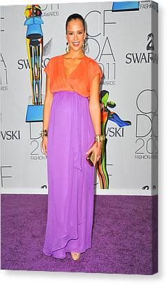 Jessica Alba Wearing A Custom Diane Von Canvas Print by Everett