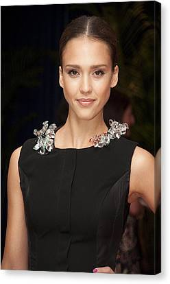 Jessica Alba Wearing A Marios Schwab Canvas Print by Everett
