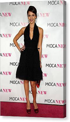 Jessica Alba Wearing A Prada Dress Canvas Print by Everett