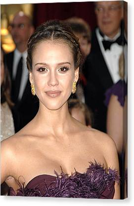 Jessica Alba Wearing Cartier Earrings Canvas Print by Everett