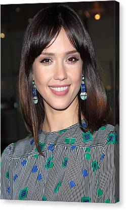 Jessica Alba Wearing Vintage Earrings Canvas Print by Everett