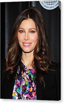 Center Part Canvas Print - Jessica Biel At Arrivals For Summit On by Everett