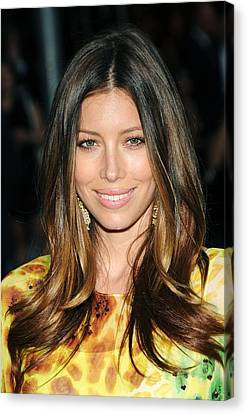 Center Part Canvas Print - Jessica Biel At Arrivals For The 2010 by Everett