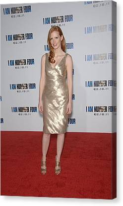 Gold Lame Canvas Print - Jessica Chastain At Arrivals For I Am by Everett