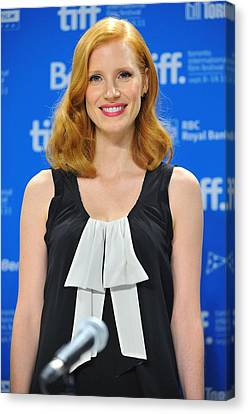 Jessica Chastain At The Press Canvas Print