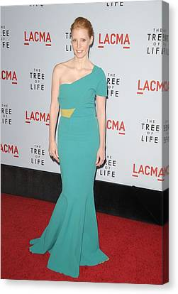 One-shoulder Dress Canvas Print - Jessica Chastain Wearing A Dress by Everett