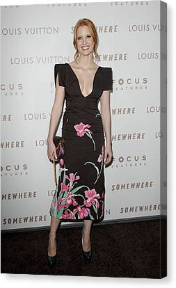 Jessica Chastain Wearing A Louis Canvas Print by Everett