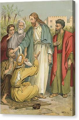 Jesus And The Blind Men Canvas Print by English School