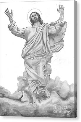 Jesus Approaches The Gates Of Heaven Canvas Print by Calvert Koerber
