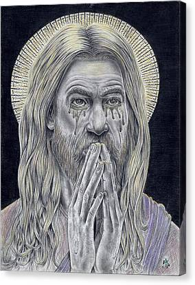 Jesus Crying For Us Canvas Print by Vincnt Clark