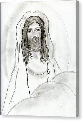 Jesus In Cave Canvas Print by Sonya Chalmers