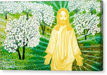 Jesus On Mount Thabor Canvas Print by Augusta Stylianou