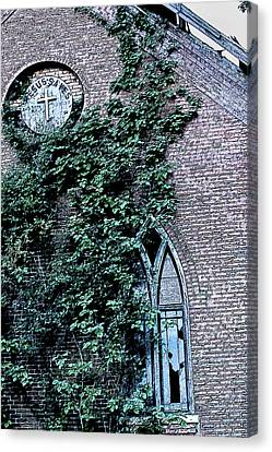 Canvas Print featuring the photograph Jesus Saves...just Not This Church by John Crothers