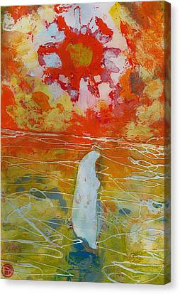 Jesus Walking On The Water Comtemplating Canvas Print by Daniel Bonnell