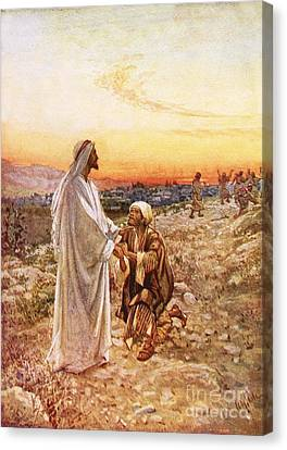 Jesus Withe The One Leper Who Returned To Give Thanks Canvas Print by William Brassey Hole