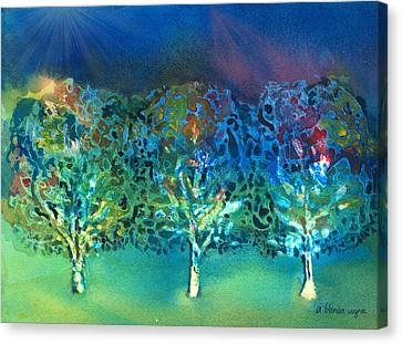 Canvas Print featuring the mixed media Jeweled Trees by Arline Wagner