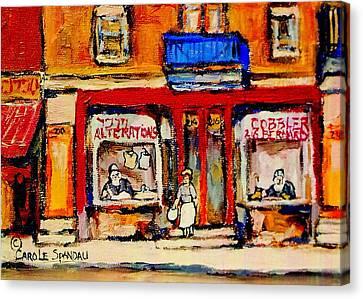 Jewish Montreal Vintage City Scenes De Bullion Street Cobbler Canvas Print by Carole Spandau