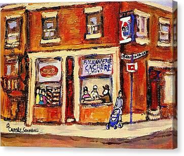Jewish Montreal Vintage City Scenes Hutchison Street Butcher Shop  Canvas Print by Carole Spandau