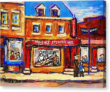 Jewish Montreal Vintage City Scenes Moishes St. Lawrence Street Canvas Print by Carole Spandau