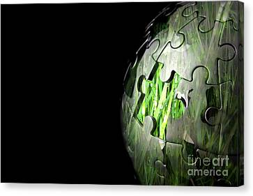 Jigsaw Globe With Grass Inside Canvas Print by Simon Bratt Photography LRPS
