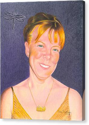 Canvas Print featuring the drawing Jill Hammond by Ana Tirolese