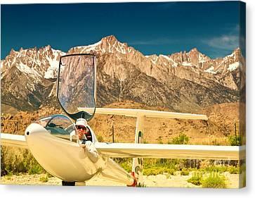 Jim Archer And Kestrel Sailplane Lone Pine California Canvas Print