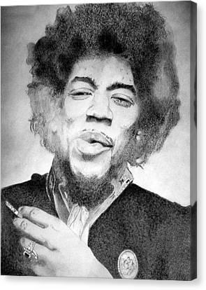 Jimi Hendrix - Small Canvas Print by Robert Lance