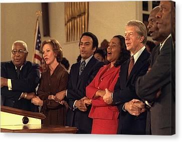 Jimmy Carter And Rosalynn Carter Sing Canvas Print