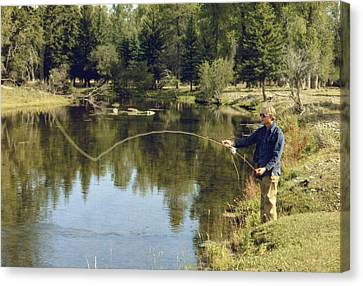 Jimmy Carter Fishing In The Grand Canvas Print by Everett