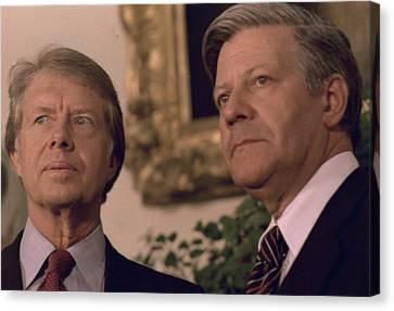 Jimmy Carter Meeting With German Canvas Print by Everett
