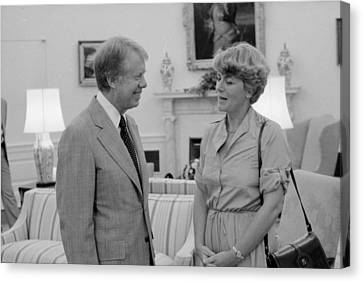 Jimmy Carter With Congresswoman Canvas Print by Everett