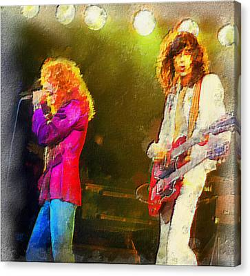 Jimmy Page And Robert Plant Canvas Print by Galeria Zullian  Trompiz