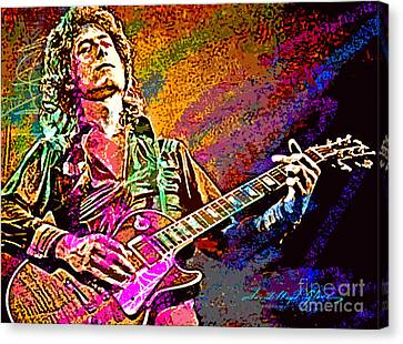 Jimmy Page Canvas Print - Jimmy Page Les Paul Gibson by David Lloyd Glover